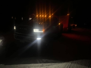 Late-night 24-hour move view of Unique Movers truck from Cold Spring, MN to Nisswa, MN.