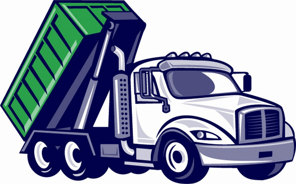 Illustration of a roll-off truck with container bin on back viewed from side set on isolated white background done in cartoon style.